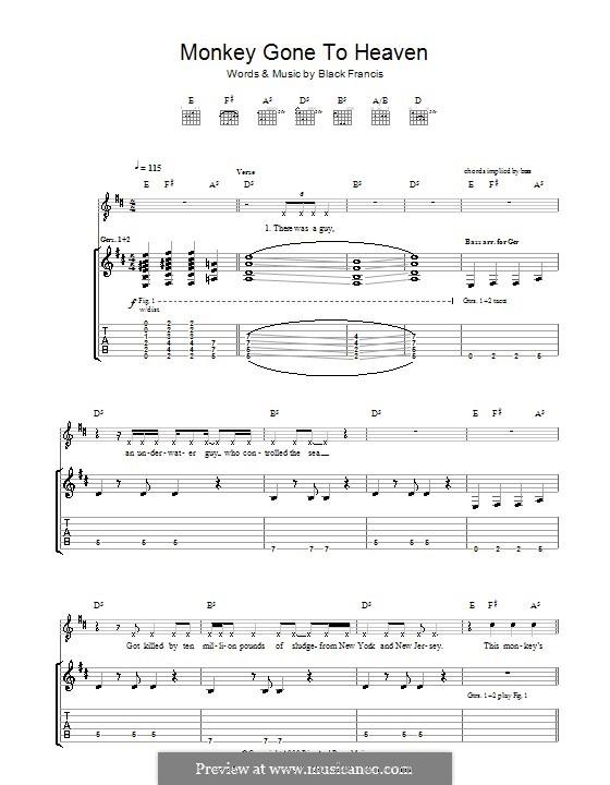 Monkey Gone to Heaven (The Pixies): Für Gitarre mit Tabulatur by Black Francis