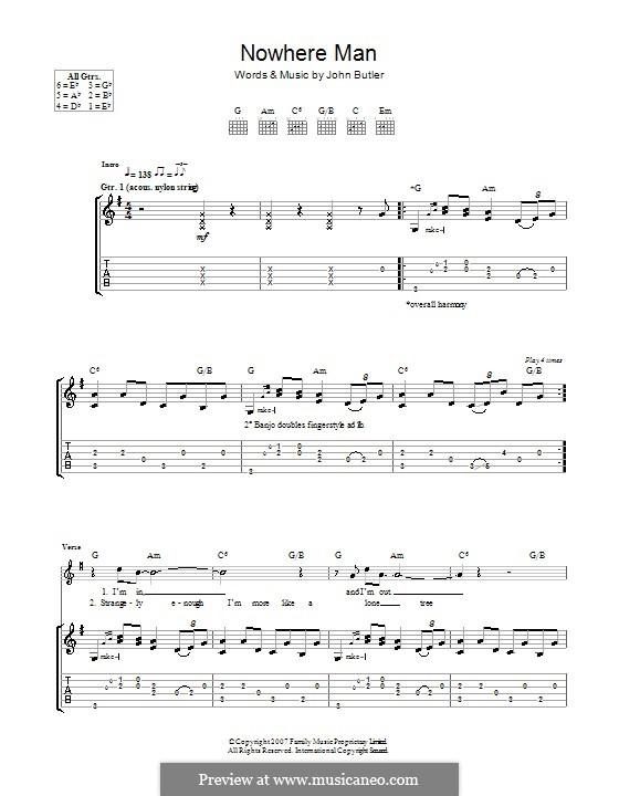 Nowhere Man: Für Gitarre mit Tabulatur by John Butler