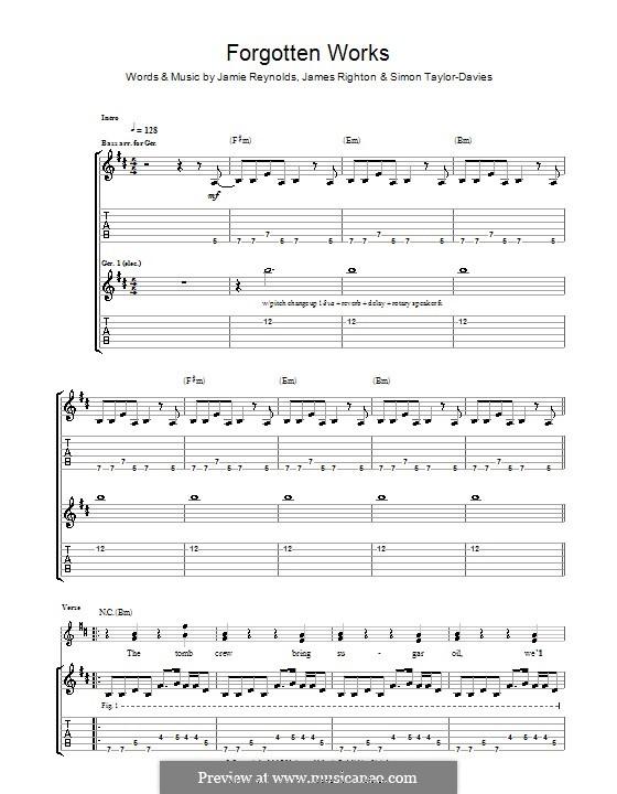 Forgotten Works (Klaxons): Für Gitarre mit Tab by James Righton, Jamie Reynolds, Simon Taylor-Davis