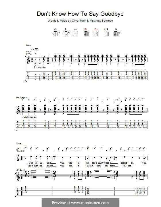 Don't Know How to Say Goodbye (The Pigeon Detectives): Für Gitarre mit Tabulatur by Matthew Bowman, Oliver Main