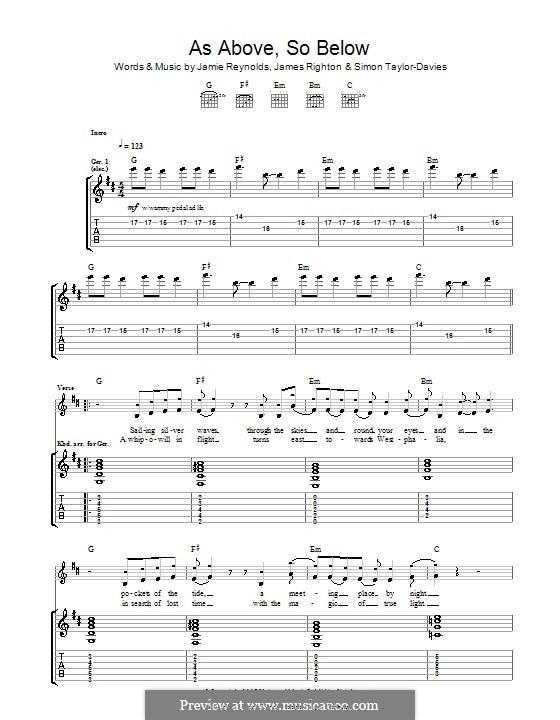 As Above So Below (Klaxons): Für Gitarre mit Tab by James Righton, Jamie Reynolds, Simon Taylor-Davis