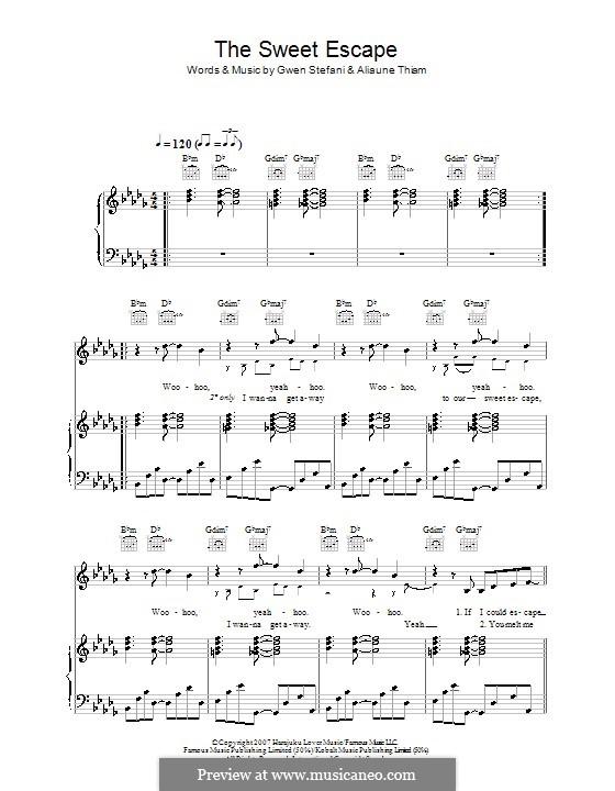 The Sweet Escape (Gwen Stefani featuring Akon): Für Stimme und Klavier (oder Gitarre) by Aliaune Thiam, Giorgio Tuinfort