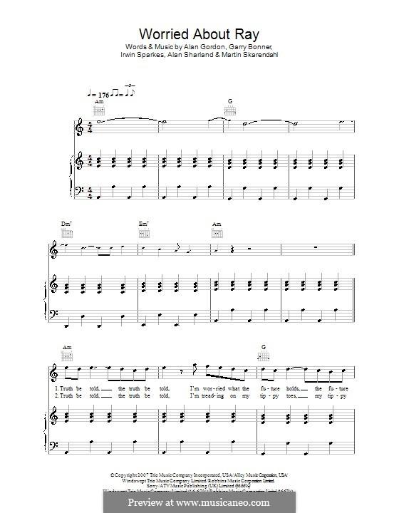 Worried About Ray (The Hoosiers): Für Stimme und Klavier (oder Gitarre) by Alan Gordon, Alan Sharland, Garry Bonner, Irwin Sparkes, Martin Skarendahl