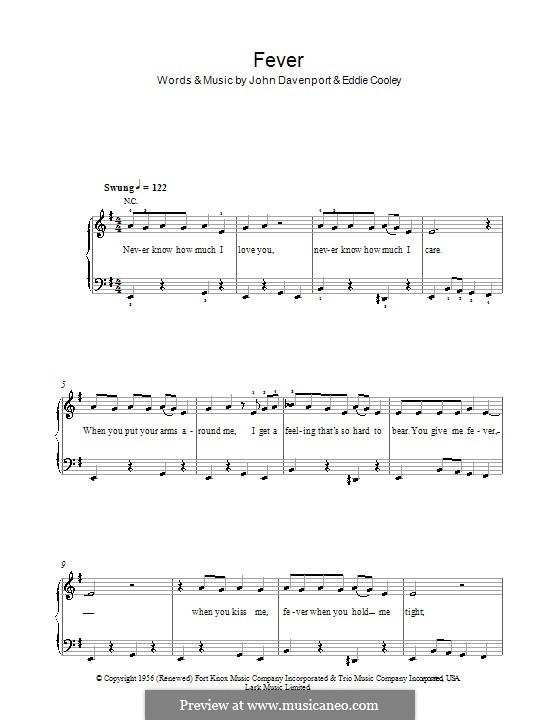 Fever: Für Klavier, leicht by Eddie Cooley, John Davenport