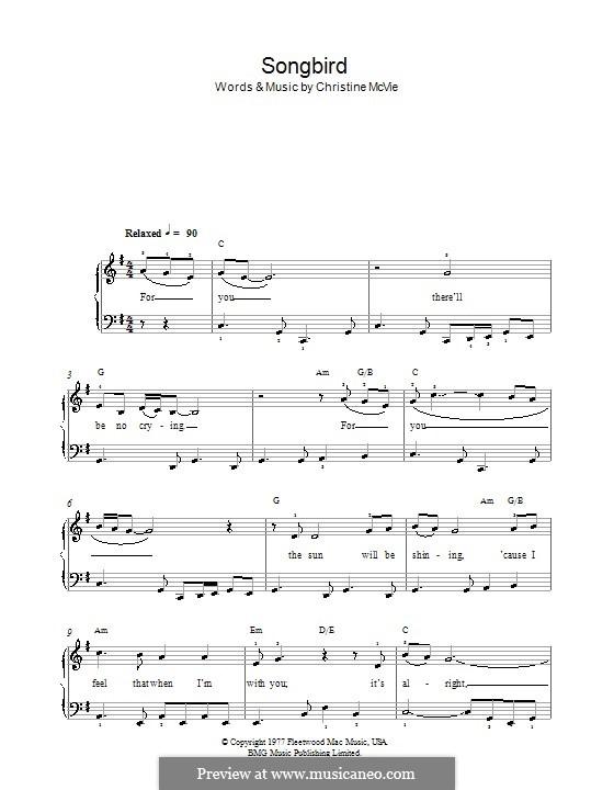 Songbird (Fleetwood Mac): Für Klavier, leicht by Christine McVie