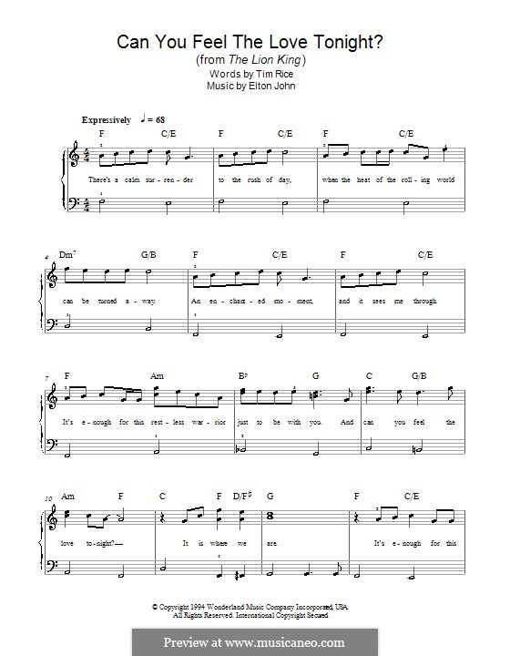 Can You Feel the Love Tonight (from The Lion King), for Piano: Easy version by Elton John