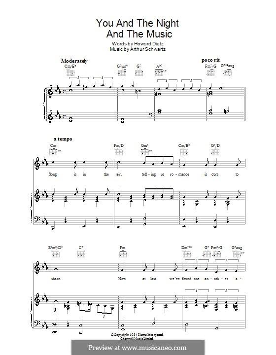 You and the Night and the Music: Für Stimme und Klavier (oder Gitarre) by Arthur Schwartz