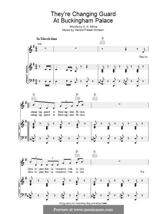 They're Changing Guard at Buckingham Palace: Für Stimme und Klavier (oder Gitarre) by Harold Fraser Simson