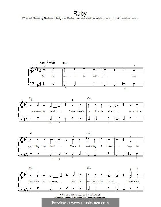 Ruby (Kaiser Chiefs): Einfache Noten für Klavier by Andrew White, James Rix, Nicholas Baines, Nicholas Hodgson, Charles Wilson