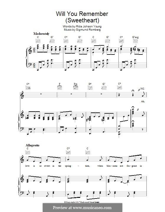 Will You Remember: Für Stimme und Klavier (oder Gitarre) by Sigmund Romberg