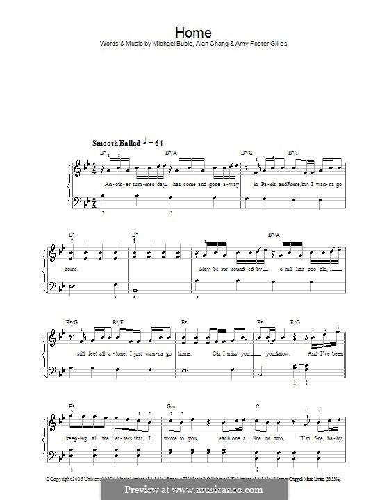 Home: Einfache Noten für Klavier by Alan Chang, Amy Foster-Gillies, Michael Bublé