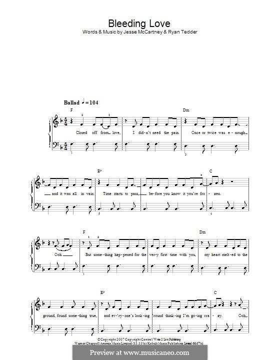 Bleeding Love (Leona Lewis): Für Klavier (leicht, mit Text) by Jesse McCartney, Ryan B Tedder