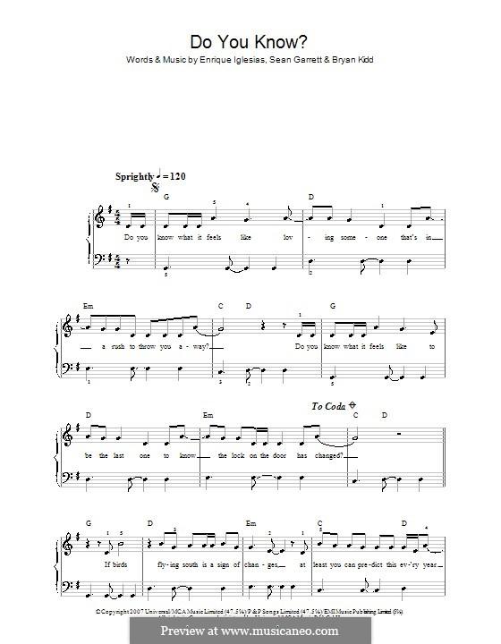 Do You Know?: Für Klavier, leicht by Bryan Kidd, Enrique Iglesias, Sean Garrett