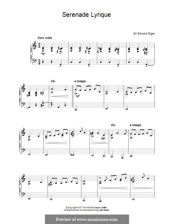 Lyrische Serenade: Für Klavier, leicht by Edward Elgar