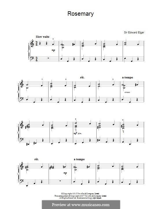 Rosemary: Für Klavier by Edward Elgar