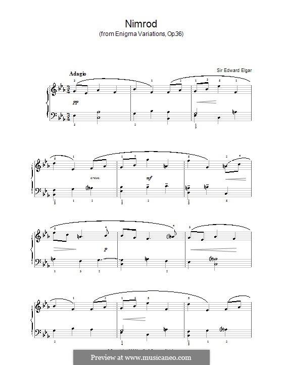 Variation Nr.9 'Nimrod': Einfache Noten für Klavier by Edward Elgar