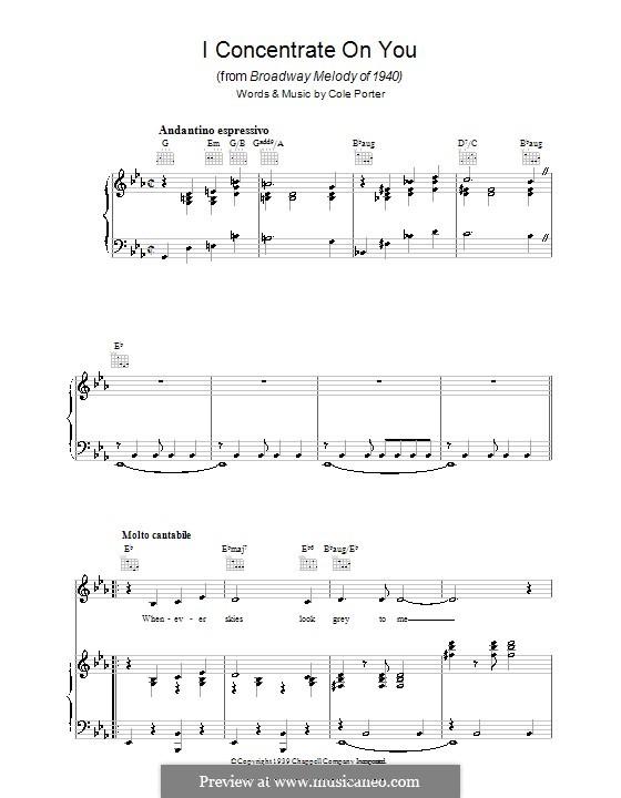 I Concentrate on You: Für Stimme und Klavier (oder Gitarre) by Cole Porter
