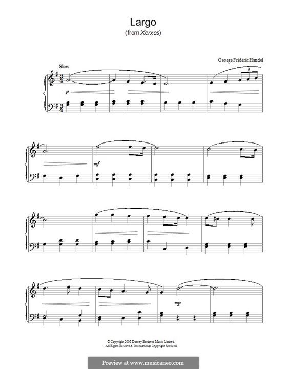 Largo: Einfache Noten für Klavier by Georg Friedrich Händel