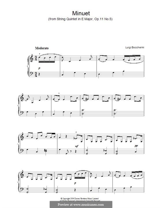 Streichquintett Nr.5 in E-Dur, G.275 Op.107: Menuett, einfache Noten für Klavier (C-Dur) by Luigi Boccherini