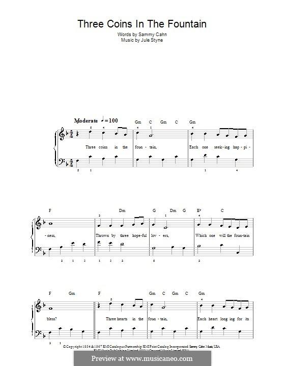 Three Coins in the Fountain (Frank Sinatra): Für Klavier, leicht by Jule Styne