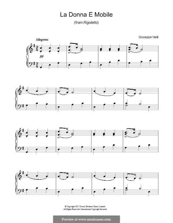 La donna è mobile (Over the Summer Sea): Für Klavier, leicht by Giuseppe Verdi