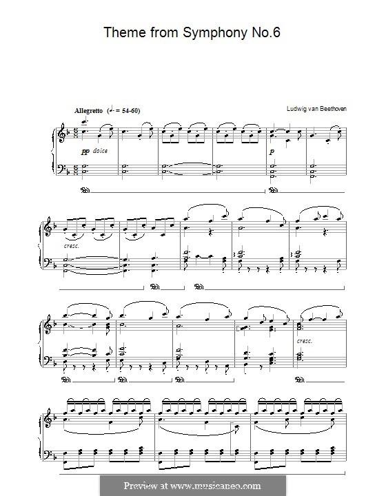 Teil V. Der Hirtengesang - Frohe, dankbare Gefühle nach dem Sturm: Version für Klavier by Ludwig van Beethoven