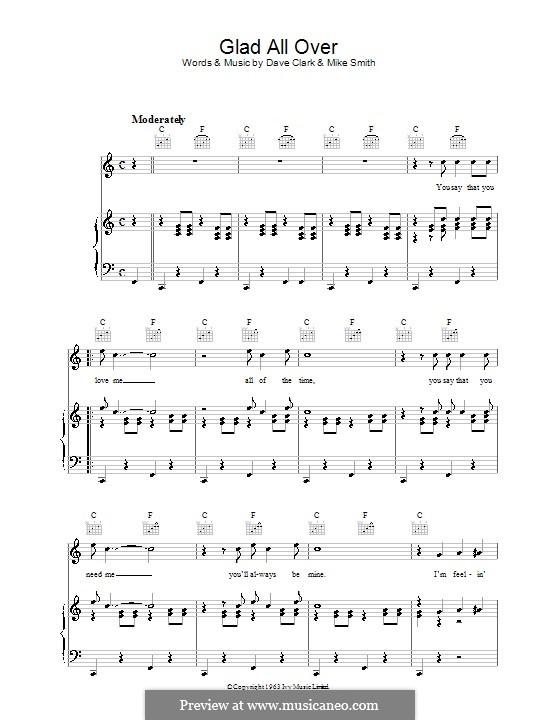 Glad All Over (The Dave Clark Five): Für Stimme und Klavier (oder Gitarre) by Dave Clark, Larry Michael Smith