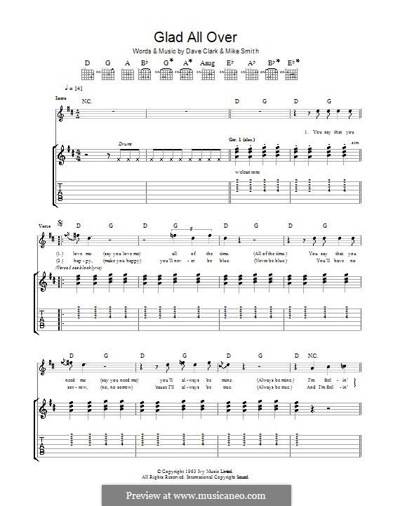 Glad All Over (The Dave Clark Five): Für Gitarre mit Tabulatur by Dave Clark, Larry Michael Smith