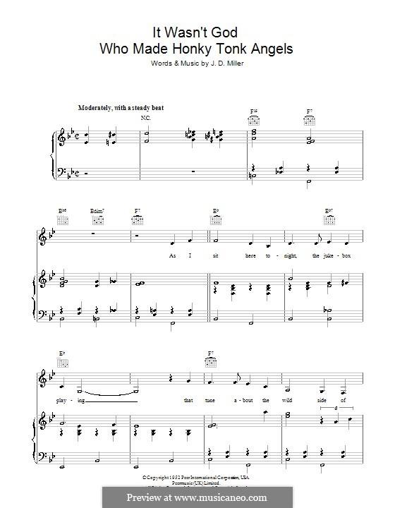It Wasn't God Who Made Honky Tonk Angels (Patsy Cline): Für Stimme und Klavier (oder Gitarre) by J.D. Miller