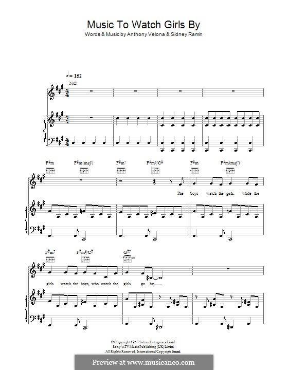 Music to Watch Girls By: Für Stimme und Klavier (oder Gitarre) by Anthony Velona, Sidney Ramin