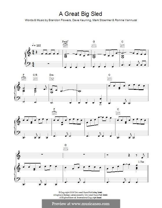A Great Big Sled (The Killers): Für Stimme mit Klavier oder Gitarre by Brandon Flowers, Dave Keuning, Mark Stoermer, Ronnie Vannucci