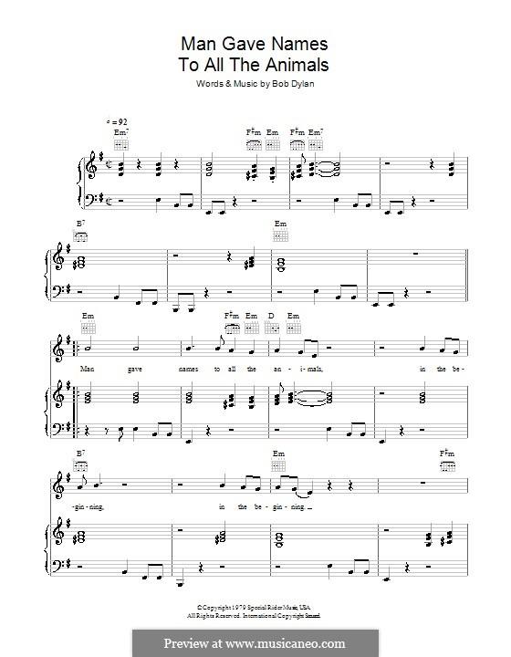 Man Gave Names to All the Animals: Für Stimme und Klavier (oder Gitarre) by Bob Dylan
