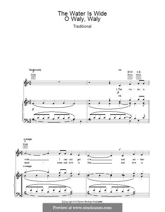 The Water is Wide: Für Stimme und Klavier oder Gitarre (F-Dur) by folklore