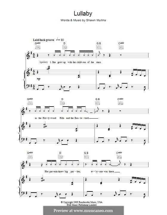 Lullaby: Für Stimme und Klavier (oder Gitarre) by Shawn Mullins