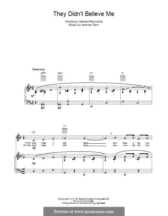 They didn't Believe Me: Für Stimme und Klavier (oder Gitarre) by Jerome Kern