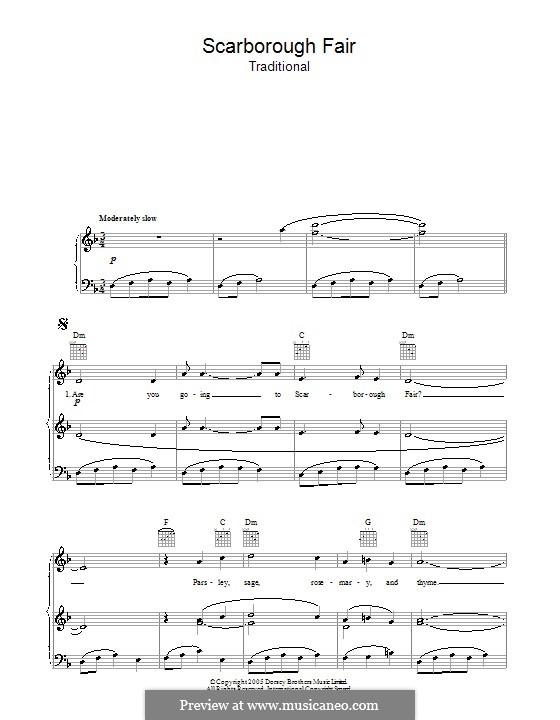 Scarborough Fair: Für Stimme und Klavier (oder Gitarre) by folklore