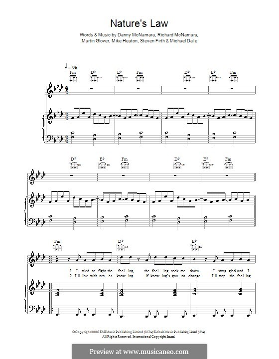 Nature's Law (Embrace): Für Stimme und Klavier (oder Gitarre) by Danny McNamara, Martin Glover, Michael Dale, Mike Heaton, Richard McNamara, Steven Firth