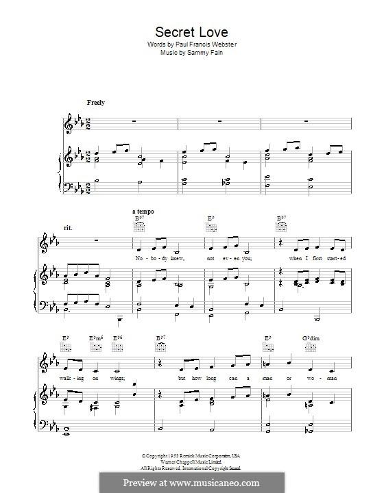 Secret Love: Für Stimme und Klavier (oder Gitarre) by Sammy Fain