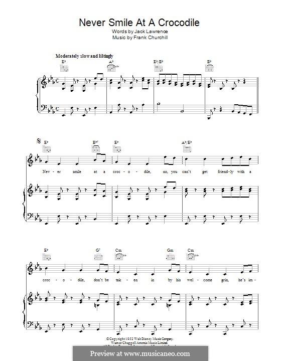 Never Smile at a Crocodile: Für Stimme und Klavier (oder Gitarre) by Frank Churchill