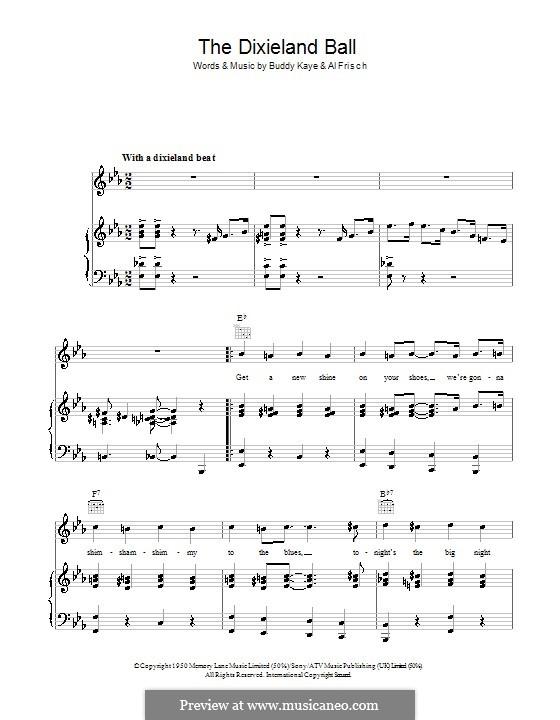 The Dixieland Ball (Buddy Kaye): Für Stimme und Klavier (oder Gitarre) by Al Frisch