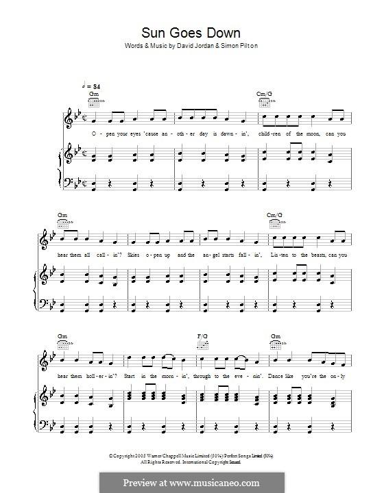 Sun Goes Down: Für Stimme und Klavier (oder Gitarre) by Simon Pilton