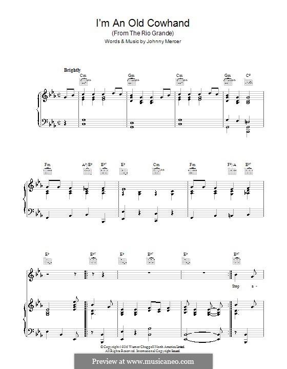 I'm an Old Cowhand: Für Stimme und Klavier (oder Gitarre) by Johnny Mercer