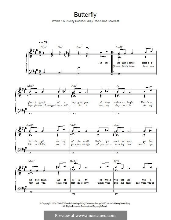 Butterfly (Corinne Bailey Rae): Für Klavier, leicht by Rod Bowkett