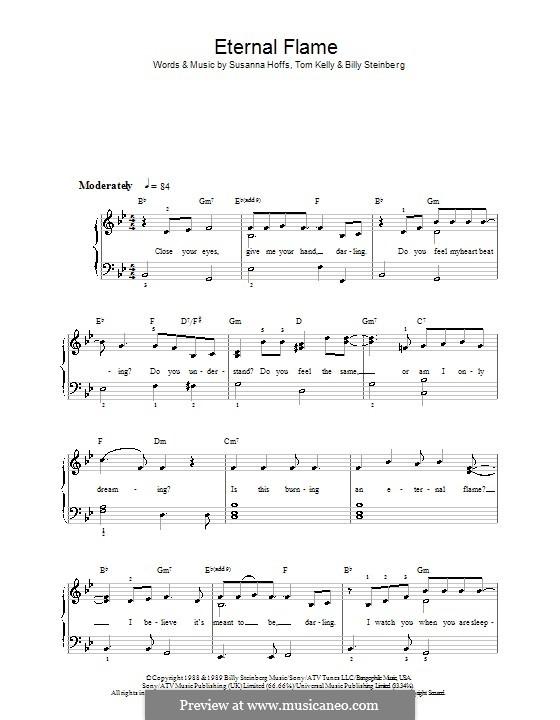 Eternal Flame: Für Klavier, leicht by Billy Steinberg, Susanna Hoffs, Tom Kelly