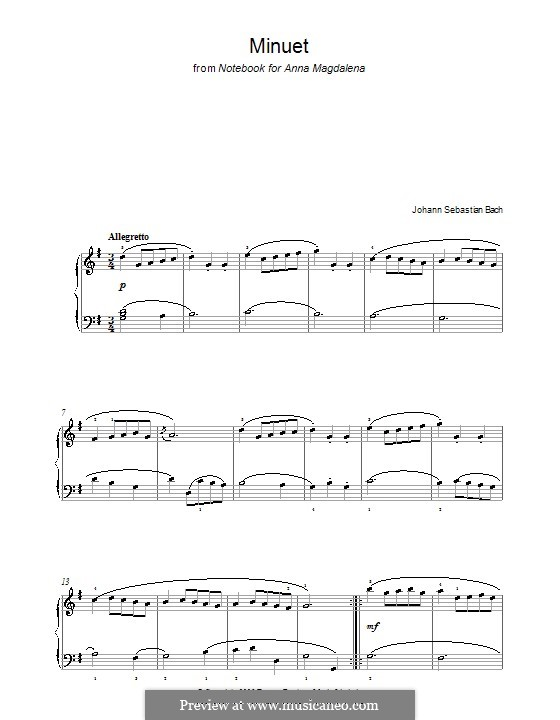 Nr.4 Menuett in G-Dur, für Klavier: Für einen Interpreten by Johann Sebastian Bach
