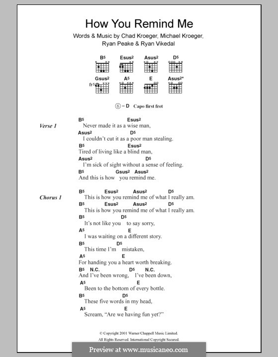 How You Remind Me (Nickelback): Text und Akkorde by Chad Kroeger, Michael Kroeger, Ryan Peake, Ryan Vikedal