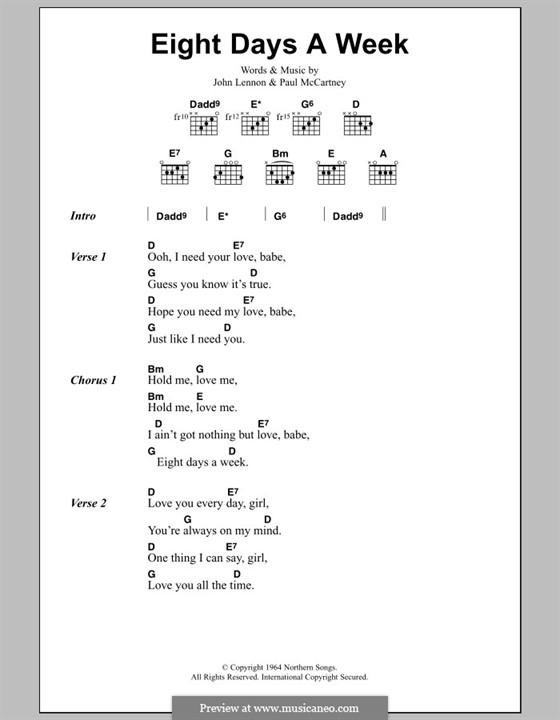 Eight Days a Week (The Beatles): Text und Akkorde by John Lennon, Paul McCartney