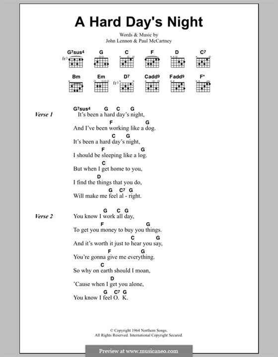 A Hard Day's Night (The Beatles): Text und Akkorde by John Lennon, Paul McCartney