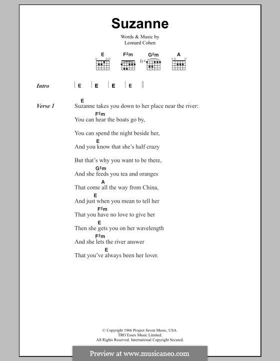 Suzanne: Text und Akkorde by Leonard Cohen