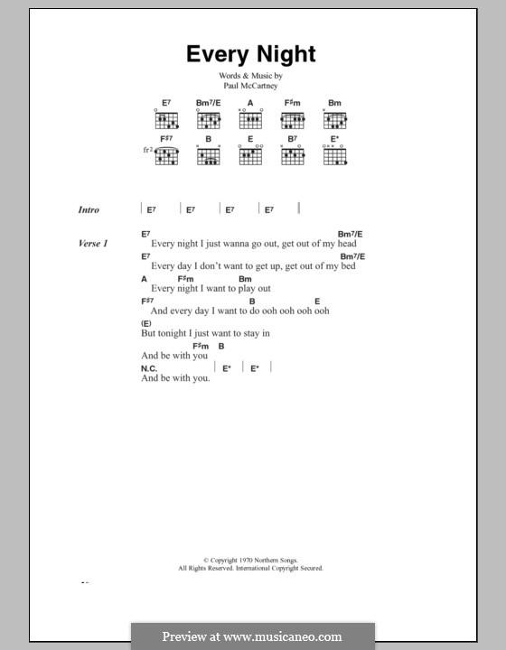 Every Night: Text und Akkorde by Paul McCartney